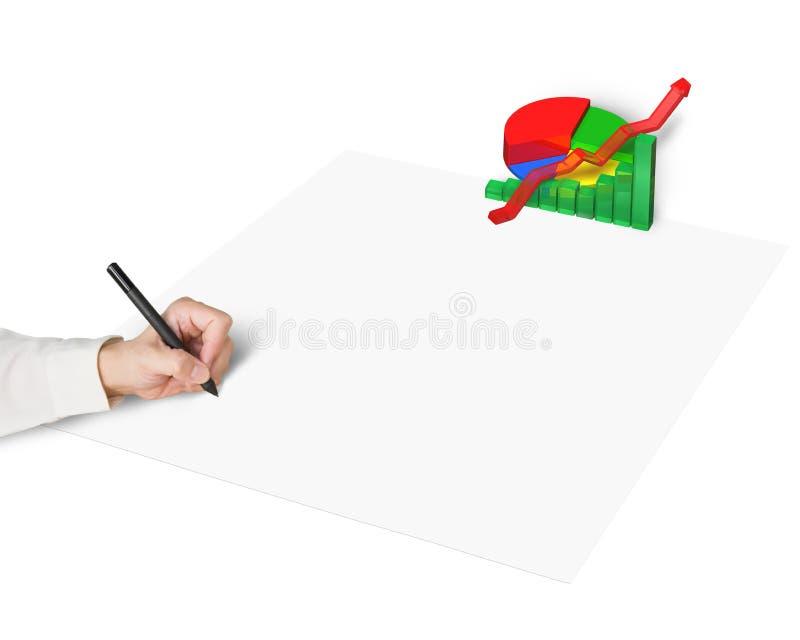 Desenho da mão no papel com carta 3d fotografia de stock