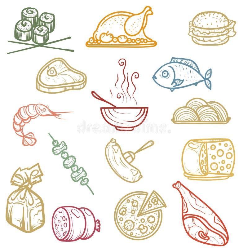 Desenho da mão Produtos dos ícones da cor imagem de stock