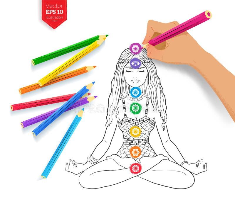 Desenho da mão que medita a mulher e os chakras ilustração do vetor