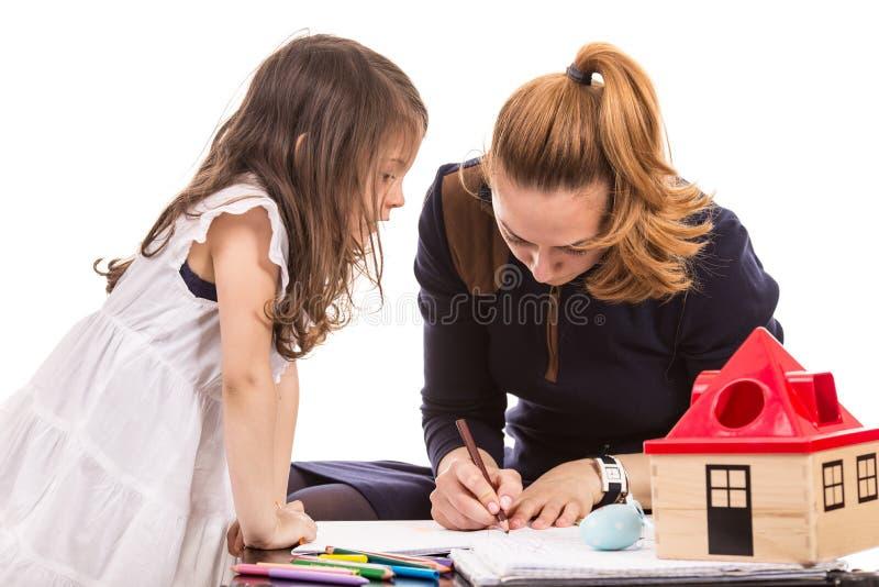 Desenho da matriz e da filha imagem de stock royalty free