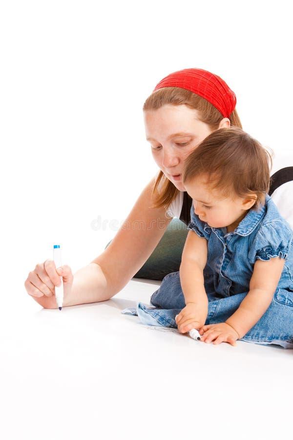 Desenho da matriz e do bebê foto de stock