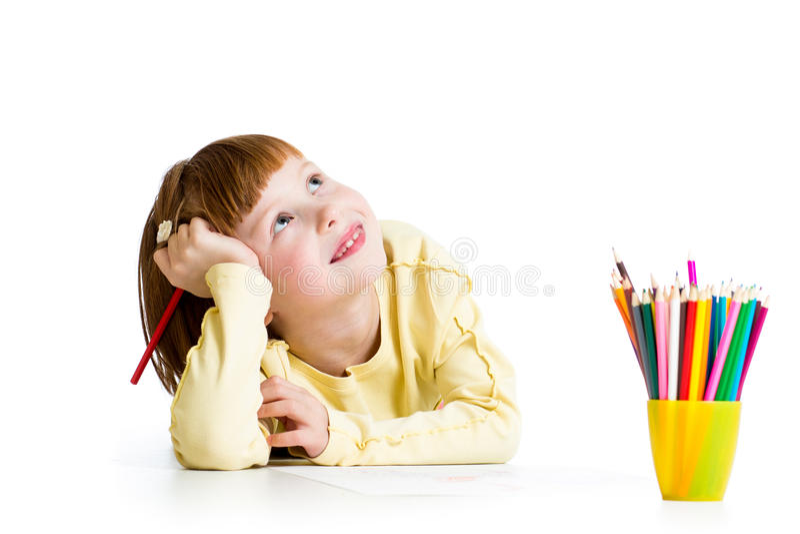 Desenho da menina da criança com lápis fotos de stock