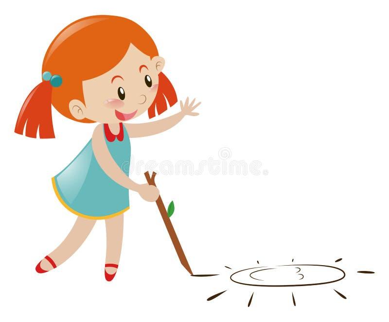 Desenho da menina na terra ilustração stock