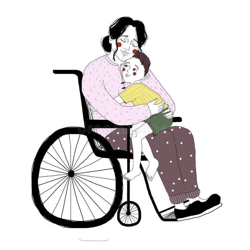 Desenho da mulher deficiente na cadeira de rodas que abraça o rapaz pequeno que senta-se em seu regaço Pares de mãe loving e de f ilustração royalty free