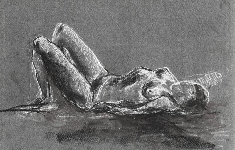 Desenho da mulher despida fotografia de stock royalty free