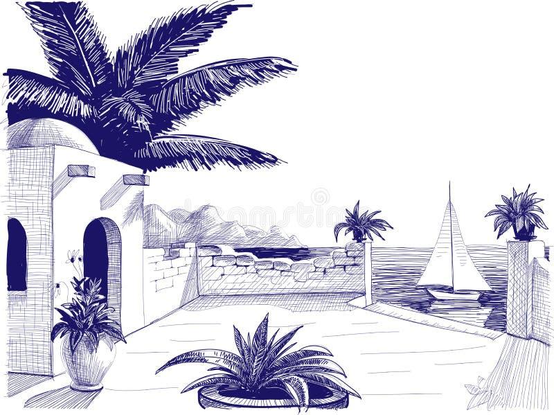 Desenho da opinião do mar ilustração do vetor