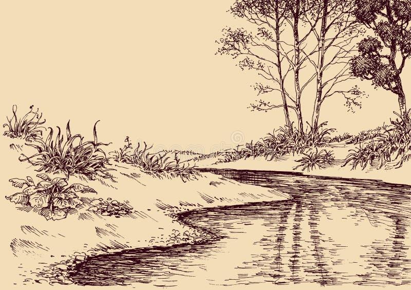 Desenho da paisagem ilustração do vetor