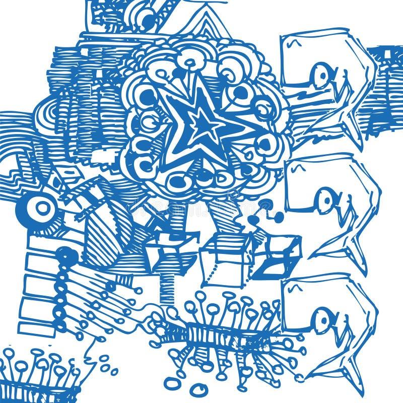 Desenho da pena de esferográfica com com as baleias de esperma ilustração stock