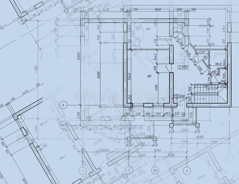 Desenho da planta arquitectónica do CAD do modelo ilustração stock