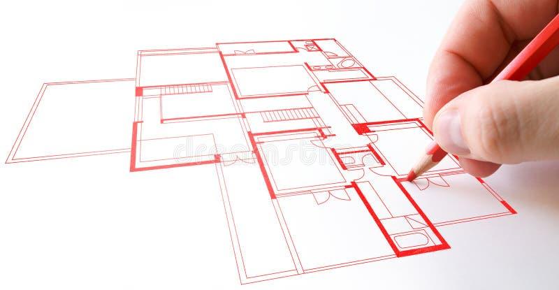 Desenho da planta da casa foto de stock royalty free