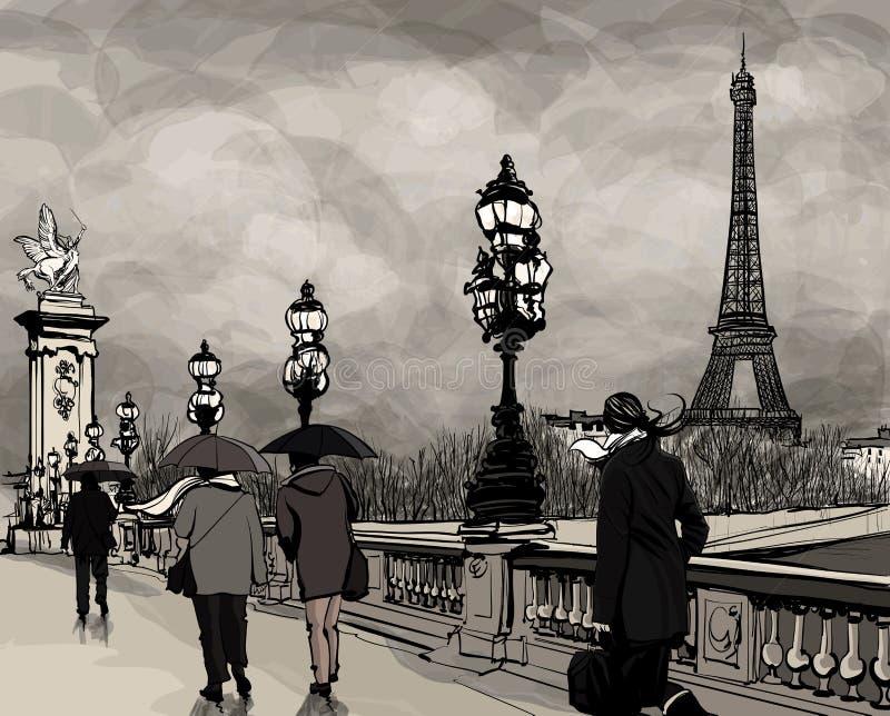 Desenho da ponte de Alexander III em Paris que mostra a torre Eiffel ilustração royalty free