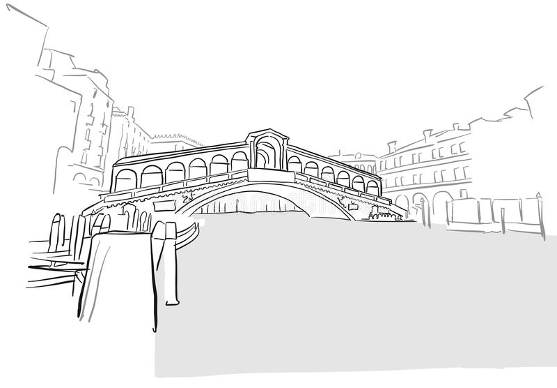 Desenho da ponte de Rialto do cartão de Veneza ilustração royalty free