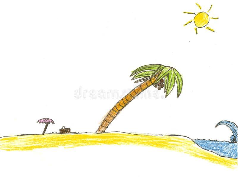 Desenho da praia da palmeira ilustração stock