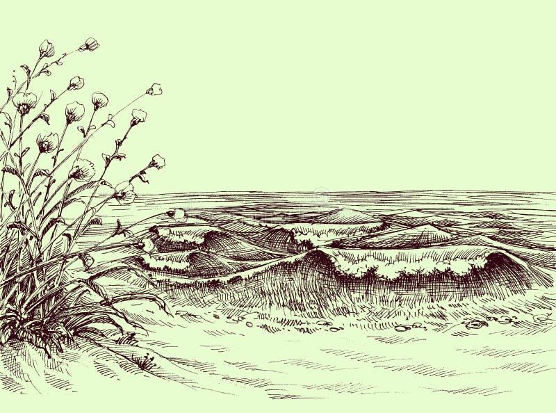 Desenho da praia e do mar ilustração stock