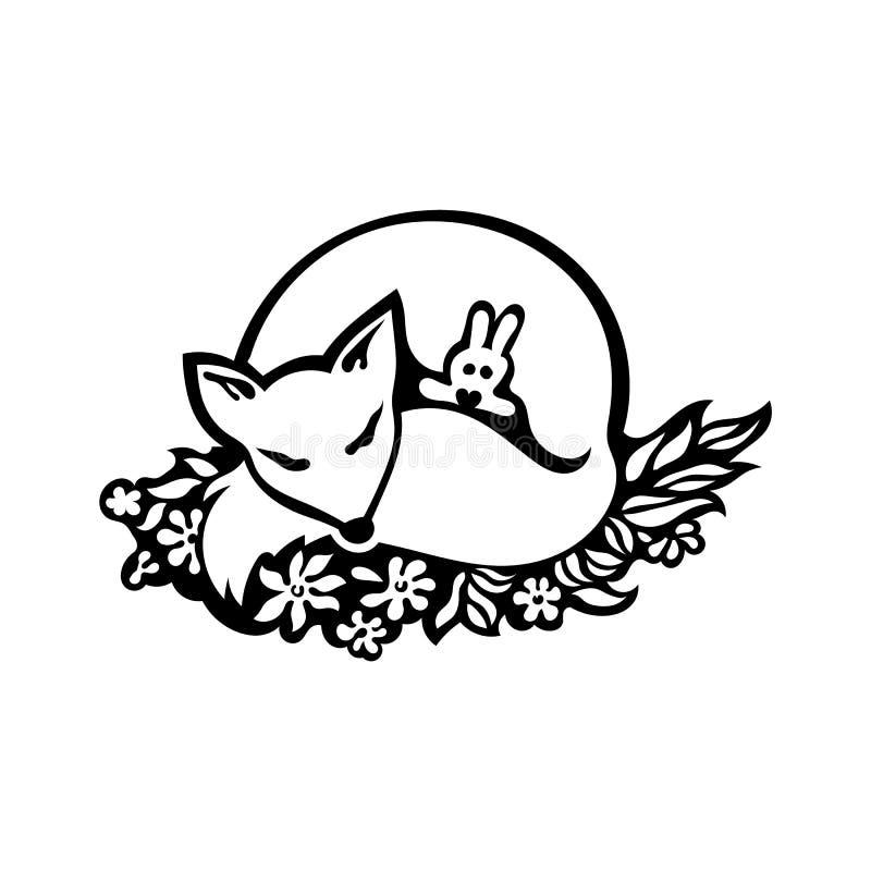 Desenho da raposa do sono ilustração royalty free