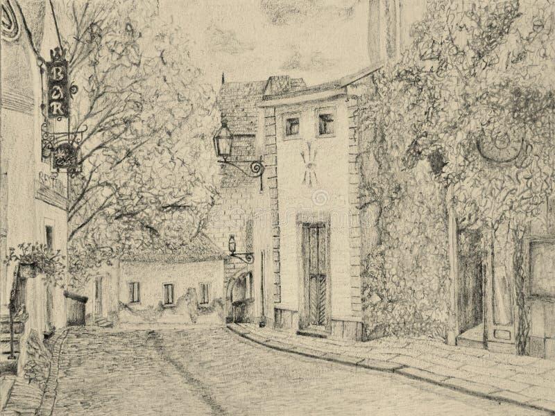 Desenho da rua fotografia de stock royalty free