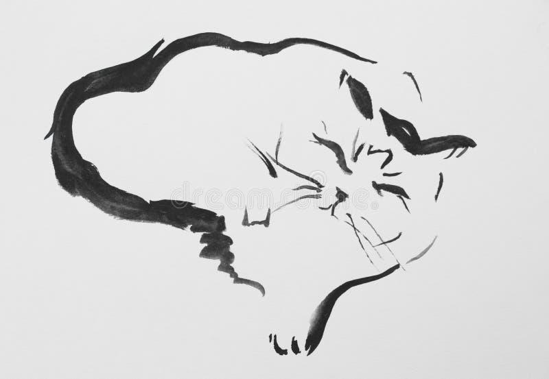 Desenho da tinta de um gato ilustração royalty free