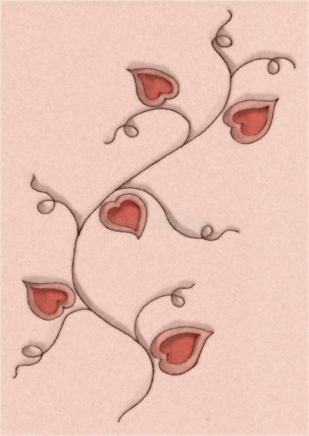 Desenho da videira da flor dos corações ilustração stock