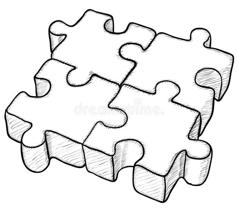 Desenho dado forma - enigma ilustração do vetor