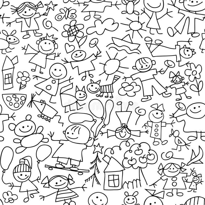Desenho das crianças - teste padrão sem emenda ilustração stock
