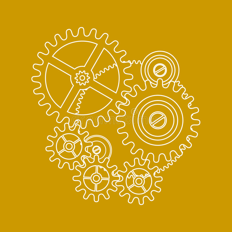 Desenho das engrenagens no amarelo ilustração do vetor