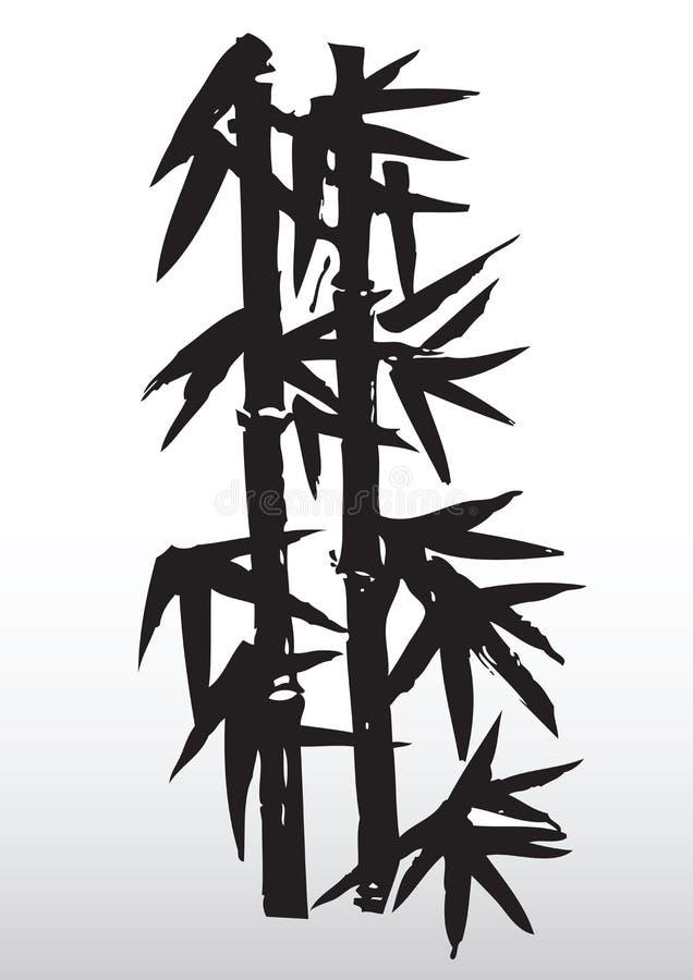 Desenho de bambu da silhueta ilustração royalty free