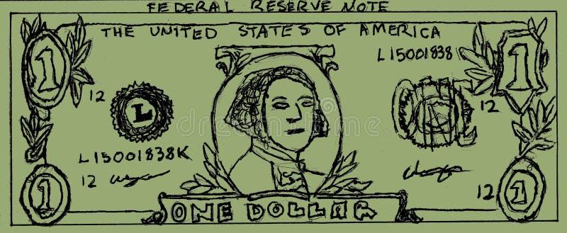 Desenho de Bill de dólar ilustração royalty free