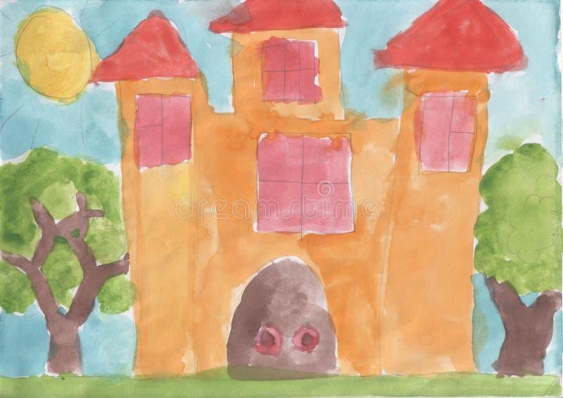 Desenho de Childs - castelo do conto de fadas imagens de stock royalty free