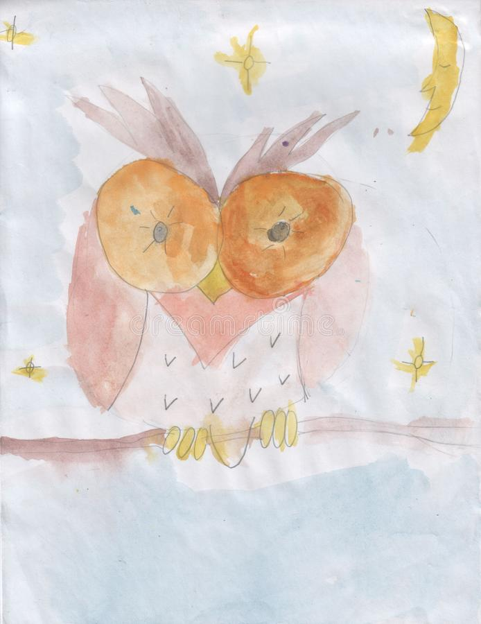 Desenho de Childs - coruja em um ramo fotografia de stock royalty free