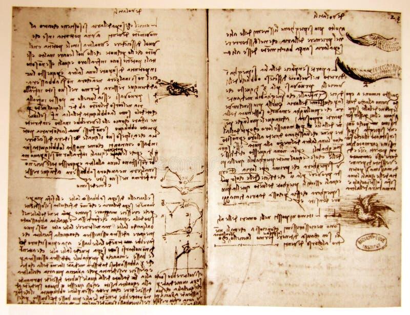 Desenho de engenharia de Leonardo foto de stock royalty free