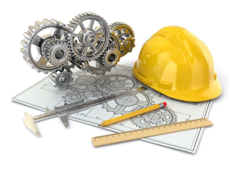 Desenho de engenharia. Engrenagem, capacete de segurança, lápis e esboço. ilustração do vetor