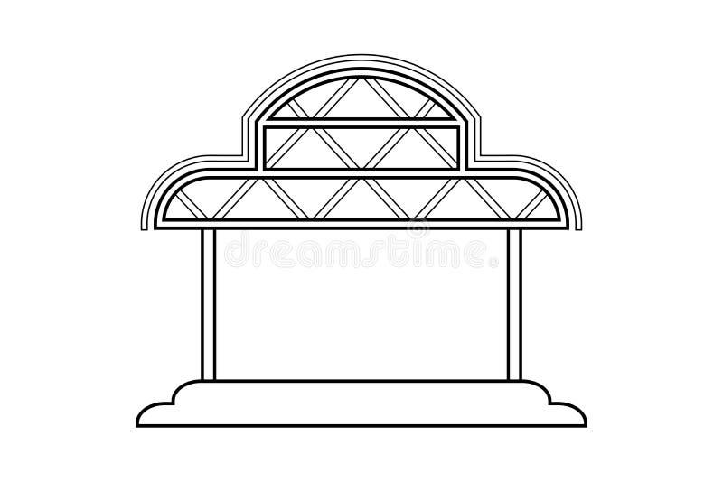 Desenho de esboço abstrato, estrutura do quadro do espaço da ilustração do vetor do estilo de Ásia do armazém ilustração royalty free