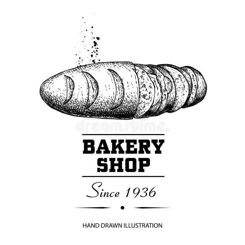 Desenho de esboço cortado da opinião superior do naco do pão Produto tirado mão da loja da padaria do estilo do esboço Manhã fres ilustração stock