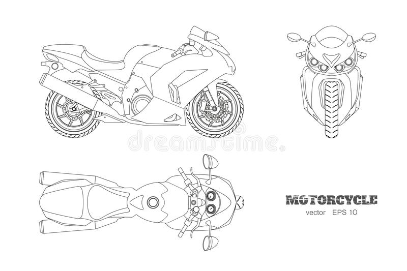 Desenho de esboço da motocicleta Opinião do lado, a superior e a dianteira Modelo isolado detalhado do velomotor no fundo branco ilustração stock