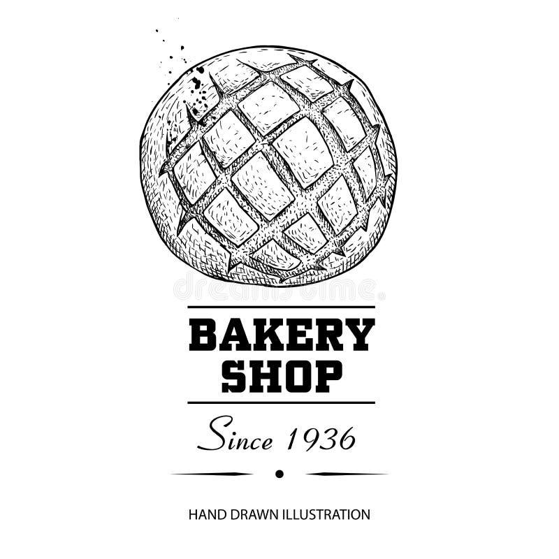 Desenho de esboço da opinião superior do bolo do pão Produto tirado mão da loja da padaria do estilo do esboço Manhã fresca ilust ilustração royalty free