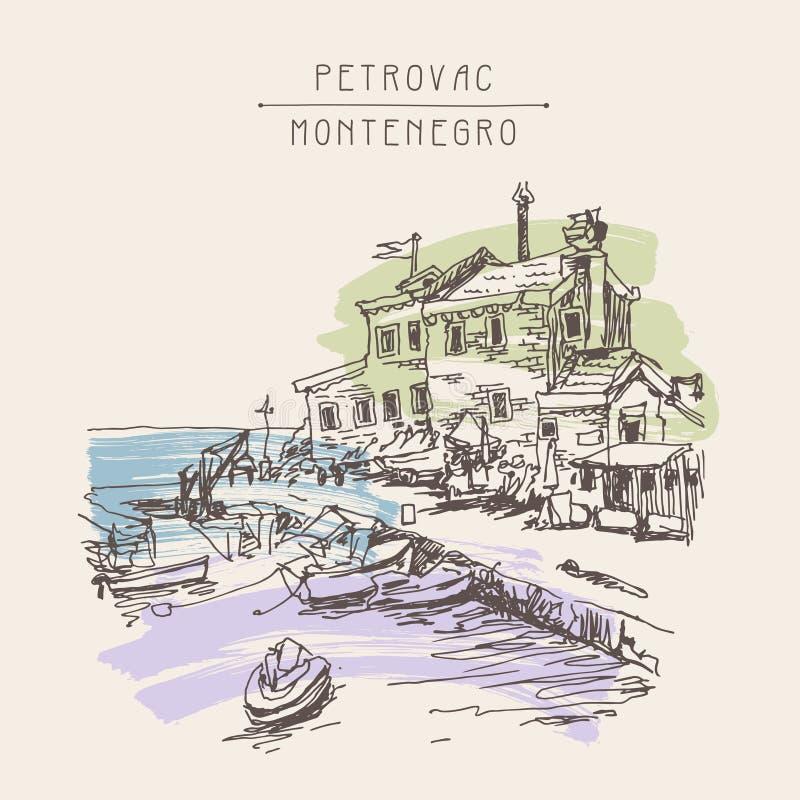 Desenho de esboço da tinta do Sepia do forte antigo em Petrovac Montenegro ilustração royalty free
