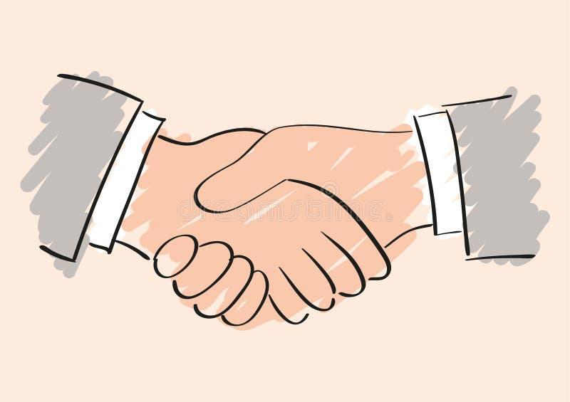Desenho de esboço do aperto de mão Símbolo da parceria e da cooperação da amizade ilustração royalty free