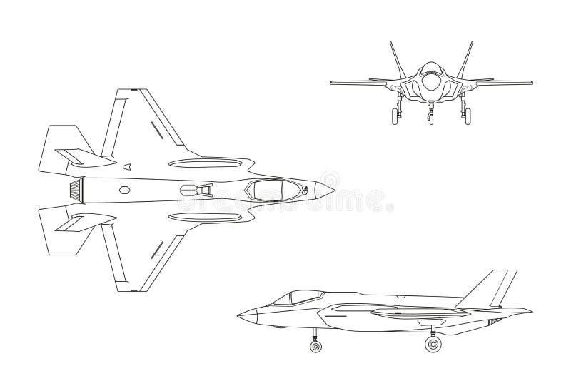 Desenho de esboço do avião militar no fundo branco Parte superior, s ilustração royalty free
