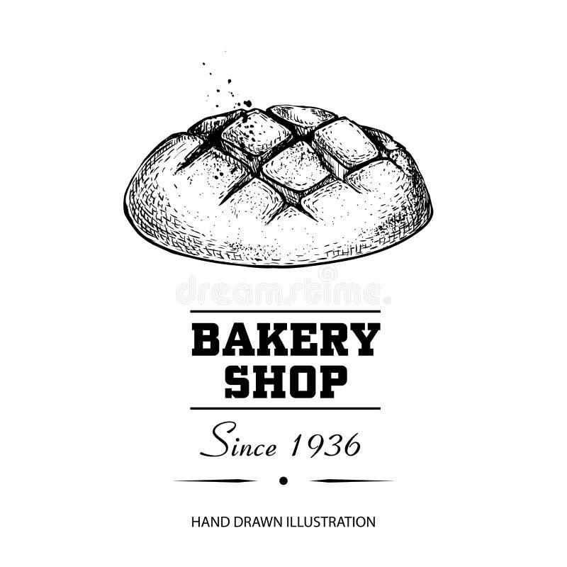 Desenho de esboço do bolo do pão Produto tirado mão da loja da padaria do estilo do esboço Manhã fresca ilustração cozida do veto ilustração royalty free