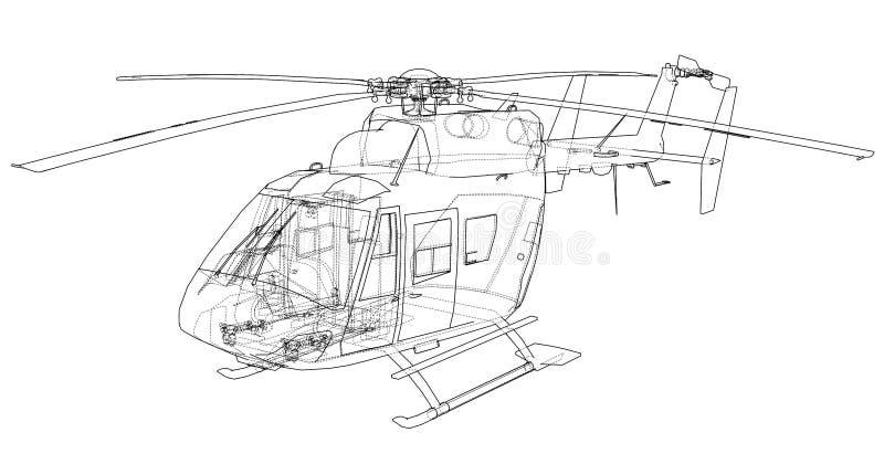 Desenho de esboço do helicóptero ilustração stock