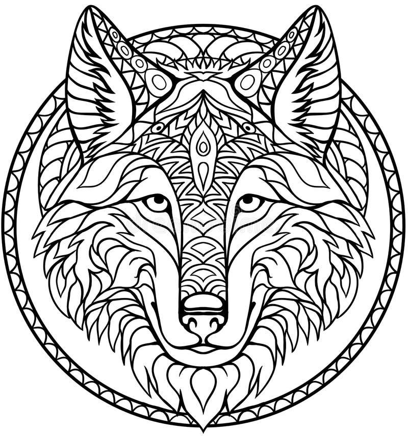 Desenho de esboço do livro para colorir do lobo da garatuja no vetor ilustração stock