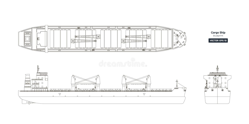 Desenho de esboço do navio de carga em um fundo branco Opinião da parte superior, a lateral e a dianteira do petroleiro ilustração do vetor