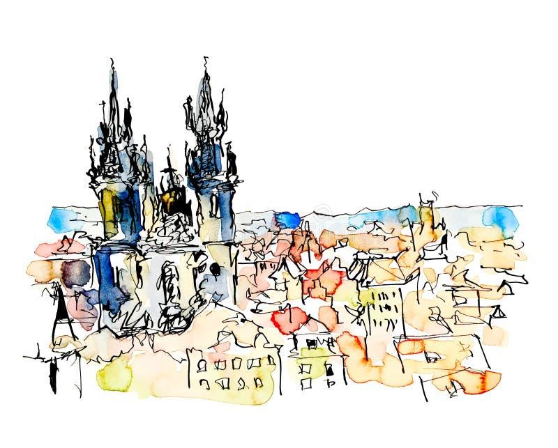 Desenho de esboço a mão livre da aquarela da parte superior de Praga República Checa ilustração do vetor