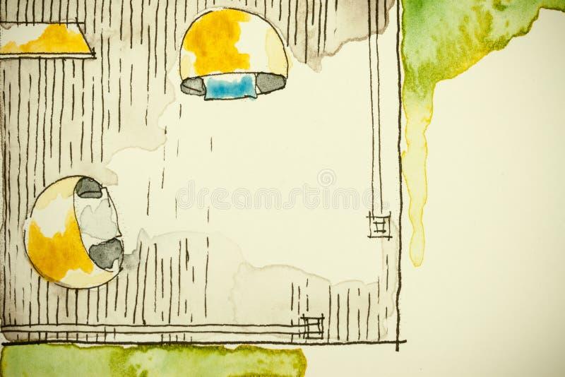 Desenho de esboço a mão livre da tinta da aquarela da planta baixa parcial da casa como a pintura do aquarell que mostra o canto  ilustração royalty free