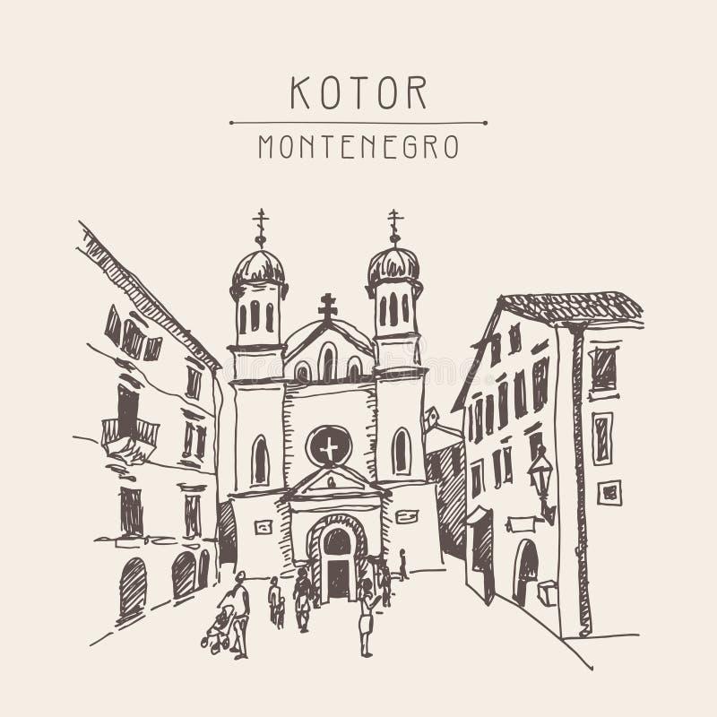 Desenho de esboço original do sepia da igreja de Saint Tryphon no Koto ilustração do vetor