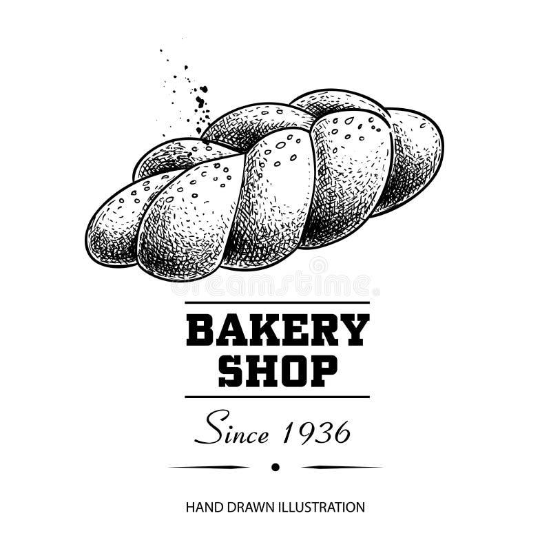 Desenho de esboço trançado do naco do pão Produto tirado mão da loja da padaria do estilo do esboço Manhã fresca ilustração cozid ilustração stock