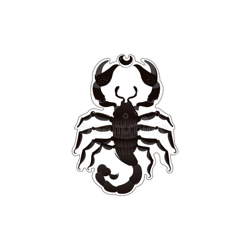 Desenho de escorpião preto com textura de desenho animado - animal de insetos selvagens com garras e cauda perigosas ilustração royalty free