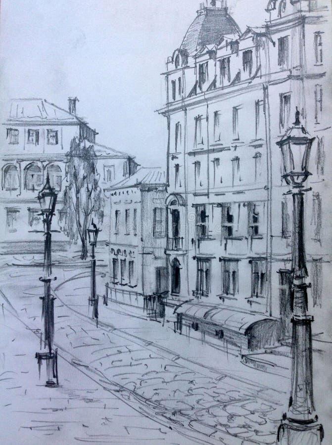 Desenho de estruturas arquitetónicas da cidade velha executada da vida Construção histórica no centro de Kiev ilustração stock
