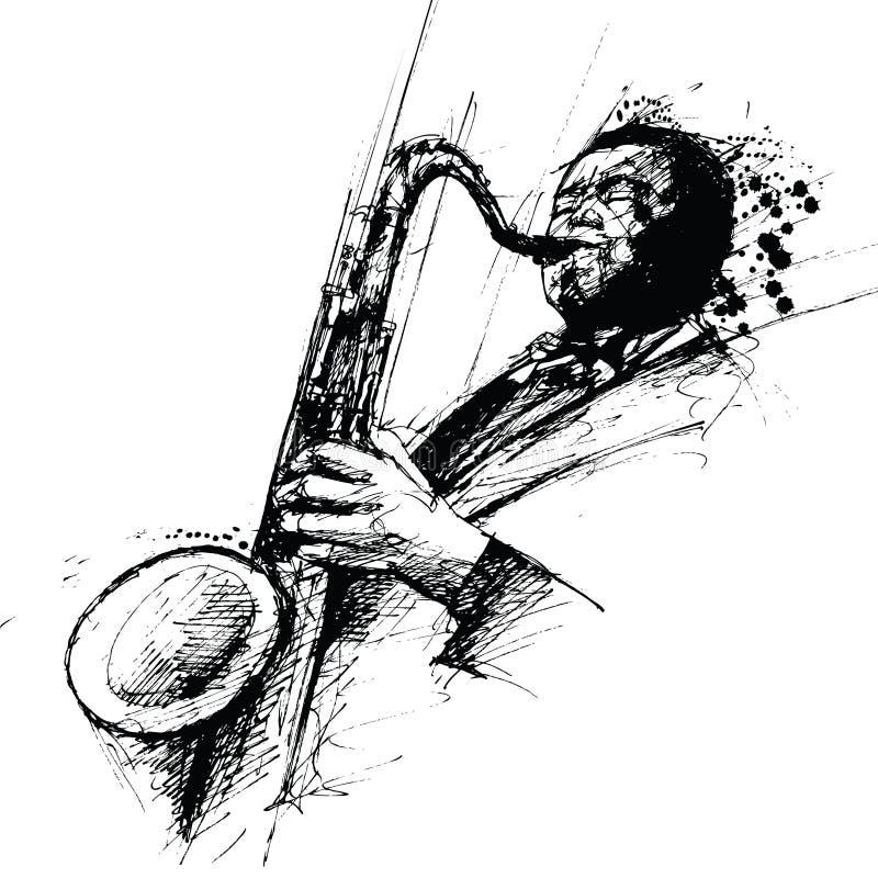 Desenho de Freehanding de um saxofonista do jazz ilustração royalty free