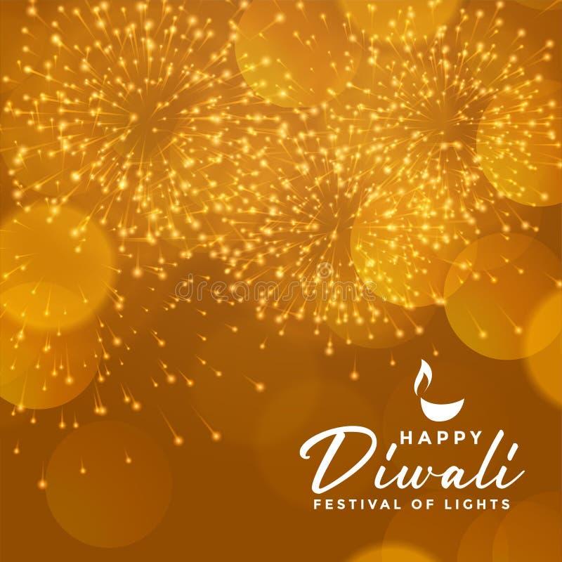 Desenho de fundo do fogos de artifício da celebração diwali feliz dourada ilustração do vetor